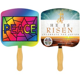 Religious Sandwiched Hand Fan (Full Color Logo)