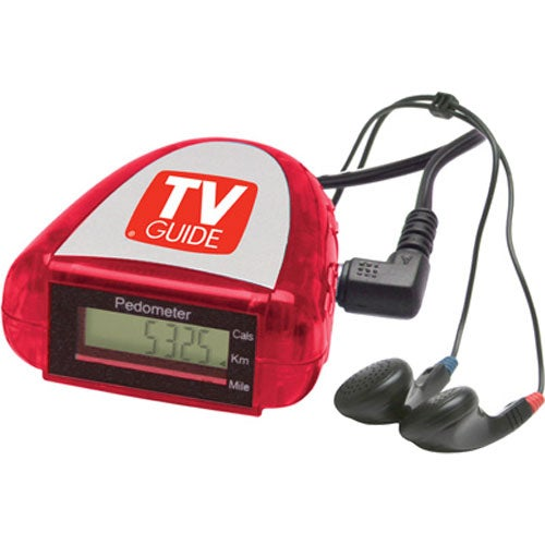 Translucent Red Pedometer with FM Scanner Radio