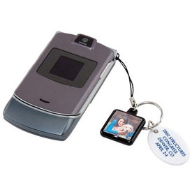 Photo Cell Phone Charm with Your Slogan