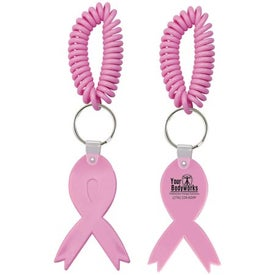Pink Ribbon Key Fob with Coil for Customization