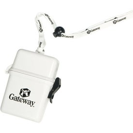 Plastic Container On A Rope Or Lanyard Branded with Your Logo