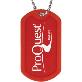 "Plastic Dog Tag with 4 1/2"" Ball Chain Imprinted with Your Logo"