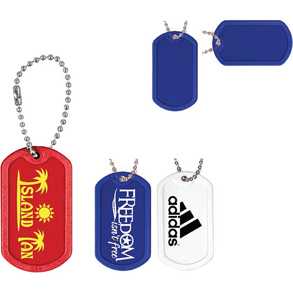"Plastic Dog Tag with 4 1/2"" Ball Chain"