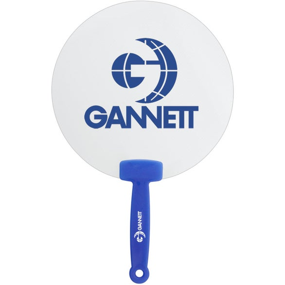 White with Blue Handle Clear Plastic Hand Fan