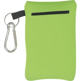 Branded Neoprene Portable Electronics Case With Carabiner