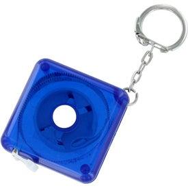 Logo Push Button Tape Measure Keychain