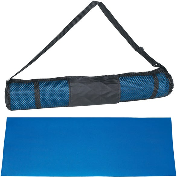 Blue PVC Yoga Mat and Carrying Case