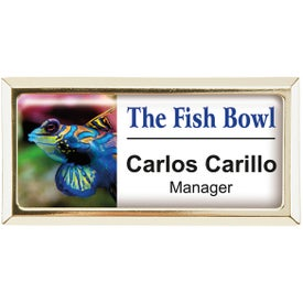Rectangle Beveled Name Badge (Magnet Bar)