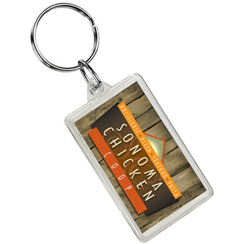 Clear Rectangle Crystal Keytag
