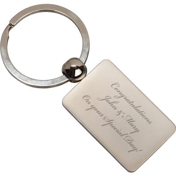 Silver Metal Rectangle Key Tag