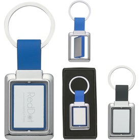 Personalized Rectangle Metal Spinner Key Tag