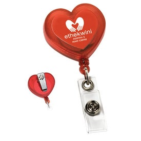 Customizable Red Heart Retractable with Alligator Clip with Your Logo