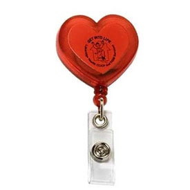 Customizable Red Heart Retractable with Alligator Clip