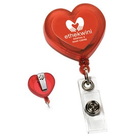 Red Heart Retractable with Alligator Clip