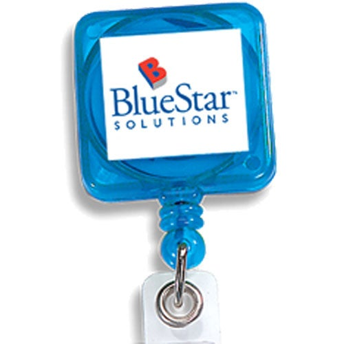 Translucent Blue Square Retract-A-Badge