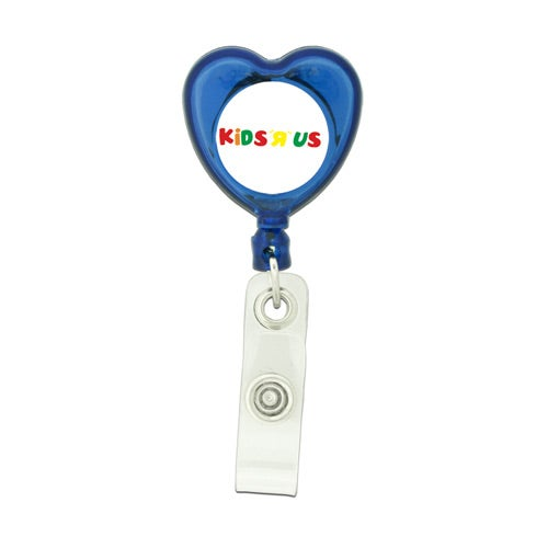 Translucent Blue Heart Shaped Retractable Badge Holder