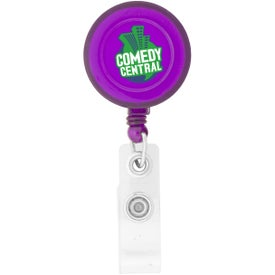 Round-Shaped Retractable Badge Holder Imprinted with Your Logo