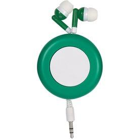 Logo Push Button Retractable Ear Buds