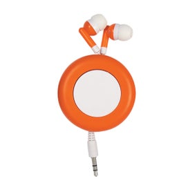 Branded Push Button Retractable Ear Buds