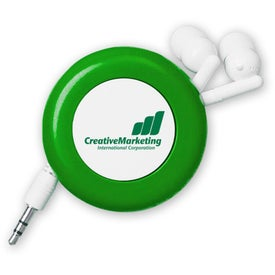 Retractable Push Button Ear Buds with Your Slogan