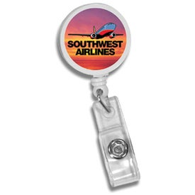 Round Badge Holder with Slide-on Clip Branded with Your Logo