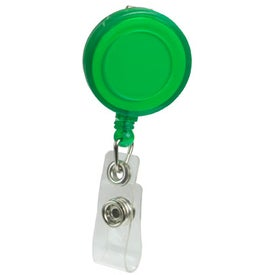 Company Round Domed Retractable Badge Holder with Slip on Clip