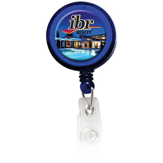 Round Domed Retractable Badge Holder with Slip on Clip