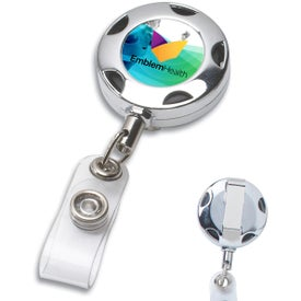 "Round Metal Retractable Badge Holder with 32"" Cord"