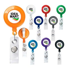 "Round Retractable Badge Holder (1.125"" x 3.5"" x 0.3125"")"