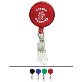 Round Retractable Badge Holder with Slip On Clip