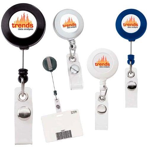 Round Retractable Plastic Badge Holder