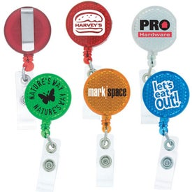Round-Shaped Reflective Retractable Badge Holder