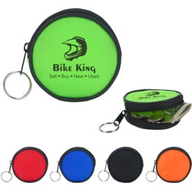 Round Zippered Coin Pouch Printed with Your Logo