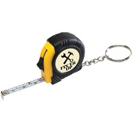 Rubber Tape Measure Key Tag With Laminated Label with Your Logo