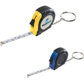 Rubber Tape Measure Key Tag With Laminated Label
