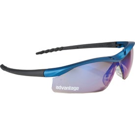 Logo Safety Works Dallas Blue Mirrored Safety Glasses