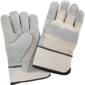 Imprinted Safety Works Double Palm Leather Gloves White Cuff