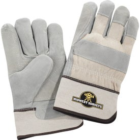 Advertising Safety Works Double Palm Leather Gloves White Cuff