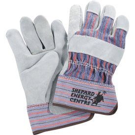 Printed Safety Works Leather Palm Glove with Rubber Safety Cuff
