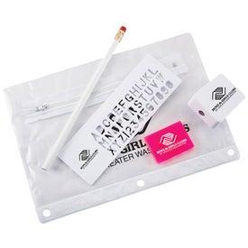 Monogrammed School Kit with 3 Hole Zipper Case