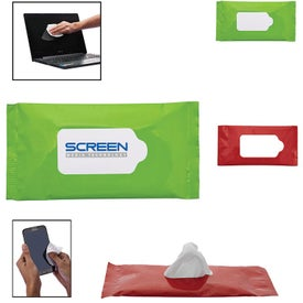 Screen and Lens Cleaner Wipes in Re-sealable Pouch