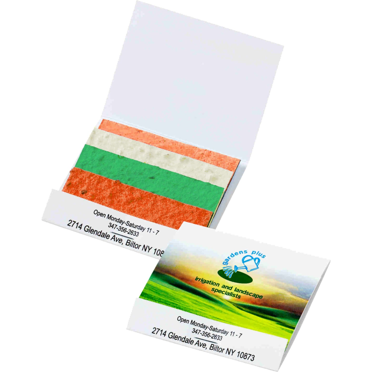 Promotional Seed Paper Matchbook - Color Stack Herb Patches with ...