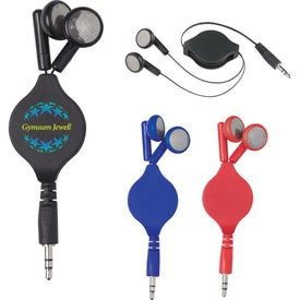 Set of Retractable Ear Buds with Your Slogan