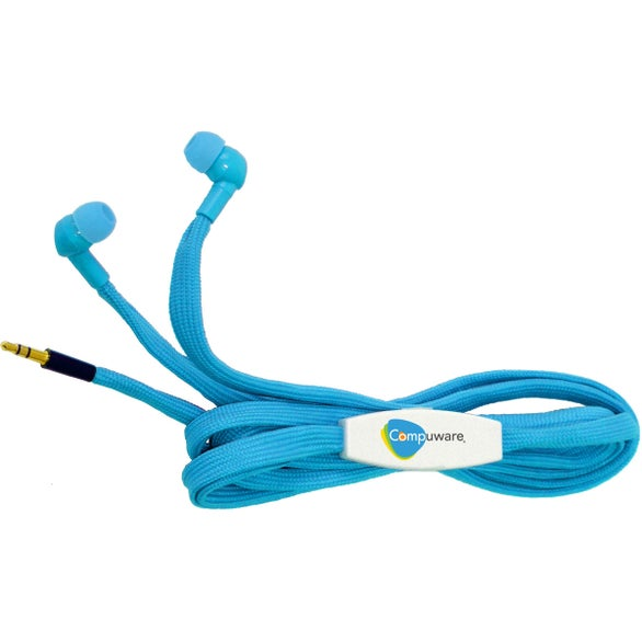 Process Blue / White Shoe Lace Earbuds
