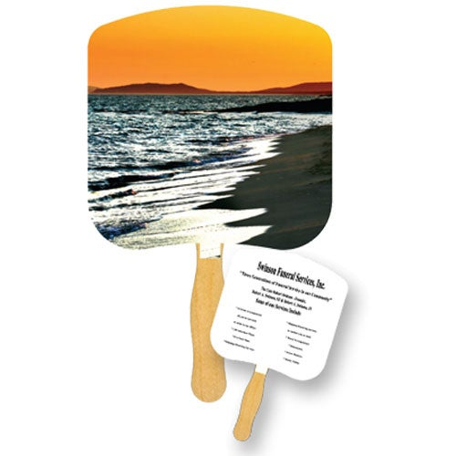 Shoreline at Sunset Inspirational Fan