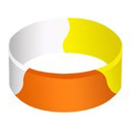 "Debossed Color Filled Segmented Silicone Wristband (1"")"