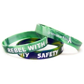Debossed Color Filled Swirl Silicone Wristband for your School