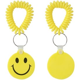 Smiley Key Fob with Coil Printed with Your Logo