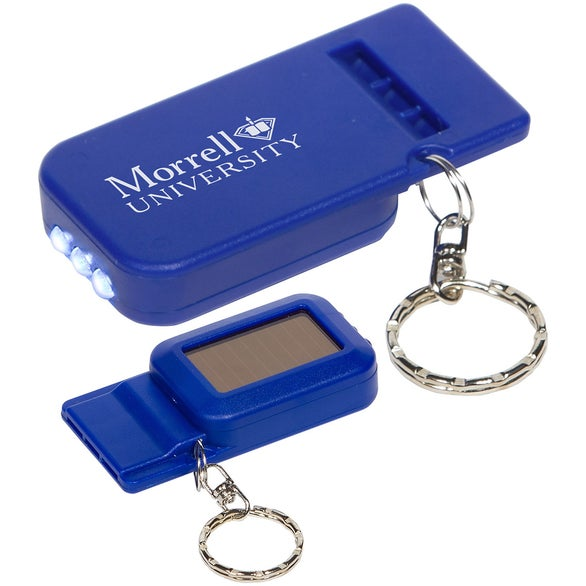 Blue Solar Powered Light and Whistle Keychain