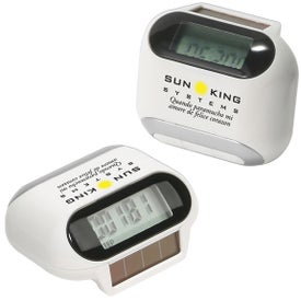 Solar Powered Pedometer Imprinted with Your Logo